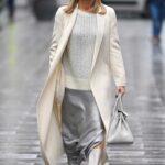 Amanda Holden in a White Coat Leaves the Global Studios in London