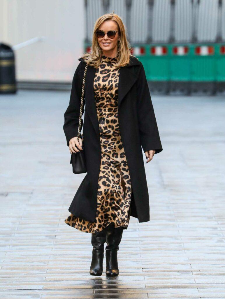 Amanda Holden in an Animal Print Dress