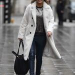 Charlotte Hawkins in a White Fur Coat Arrives at the Global Studios Classical FM in London