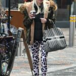 Denise Van Outen in an Animal Print Leggings Heads to Get Some Shopping in Chelmsford, Essex