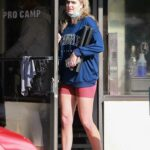 Emma Krokdal in a Blue Sweatshirt Leaves Her Workout at Pro Camp Gym Out with Dolph Lundgren in Venice