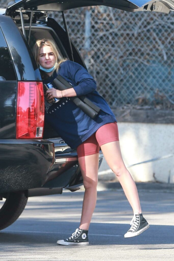 Emma Krokdal in a Blue Sweatshirt