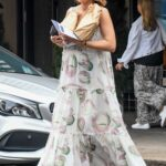 Jesinta Franklin in a White Floral Dress Was Seen Out in Rose Bay
