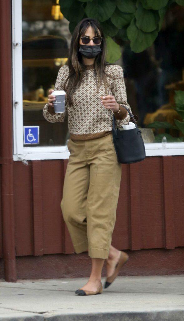 Jordana Brewster in a Beige Pants