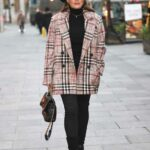 Kelly Brook in a Plaid Jacket Arrives at the Heart Radio Studios in London