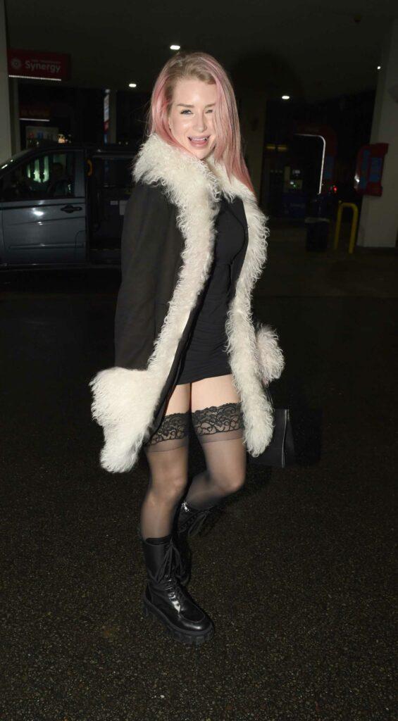Lottie Moss in a Black Mini Dress