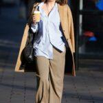 Myleene Klass in a Beige Coat Arrives at the Global Studios in London