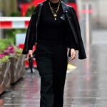 Myleene Klass in a Black Leather Jacket Arrives at the Global Studios in Central London