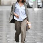 Myleene Klass in a White Sneakers Arrives at the Smooth Radio Studios in London