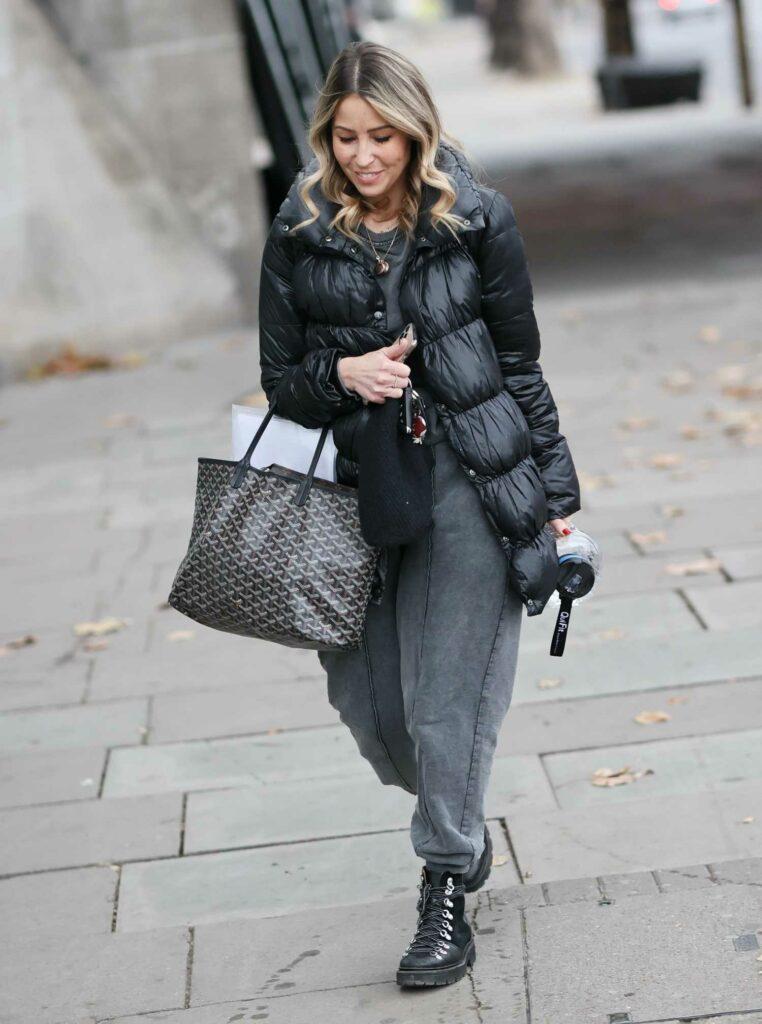 Rachel Stevens in a Black Puffer Jacket