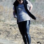 Rebel Wilson in a Striped Tee Goes for a Hike in Los Angeles