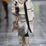 Zoe Hardman in a Beige Coat Arrives at the Heart Radio in London