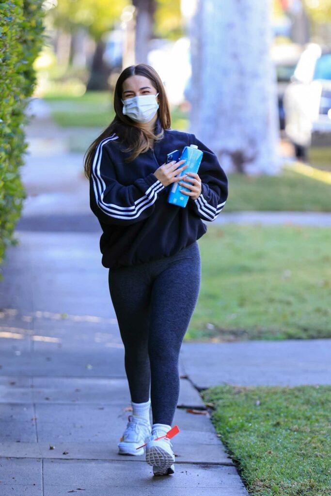Addison Rae in a Grey Leggings