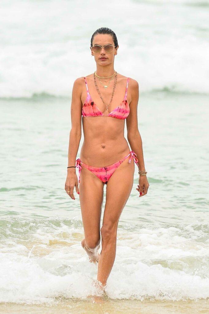 Alessandra Ambrosio in a Pink Bikini