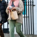 Angela Griffin in an Olive Sweatpants Was Seen Out with Her Daughter Tallulah Milligan in Primrose Hill, London