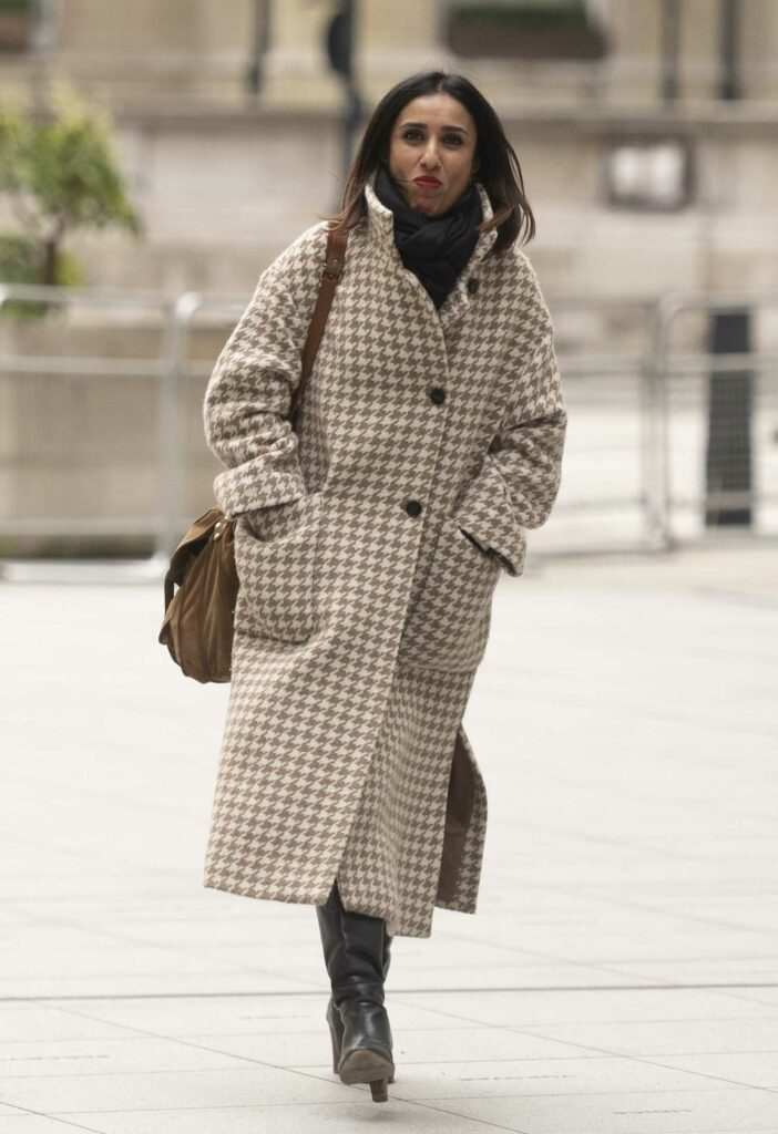 Anita Rani in a Tan Coat
