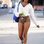 Ariane Andrew in an Animal Print Shorts Was Seen Out in Studio City