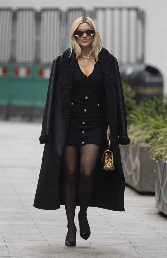 Ashley Roberts in a Black Leather Coat