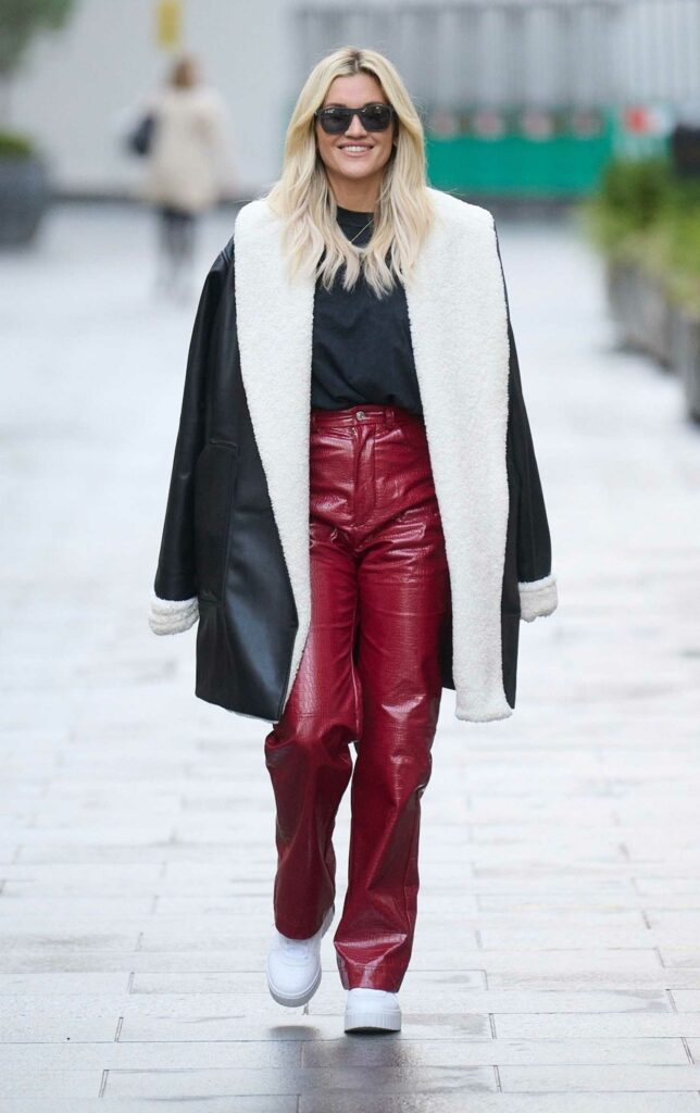 Ashley Roberts in a Red Leather Pants