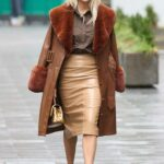Ashley Roberts in a Tan Leather Coat Leaves the Global Radio Studios in London