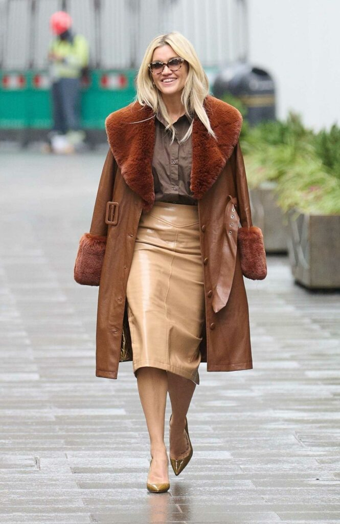 Ashley Roberts in a Tan Leather Coat