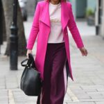 Charlotte Hawkins in a Pink Coat Arrives at the Global Studios in London