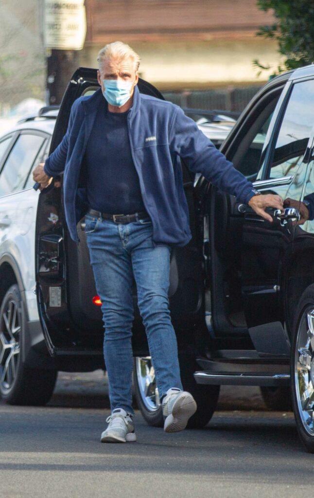 Dolph Lundgren in a Blue Track Jacket