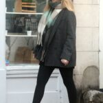 Emily Atack in a Grey Coat Was Seen Out with Friends in Highgate