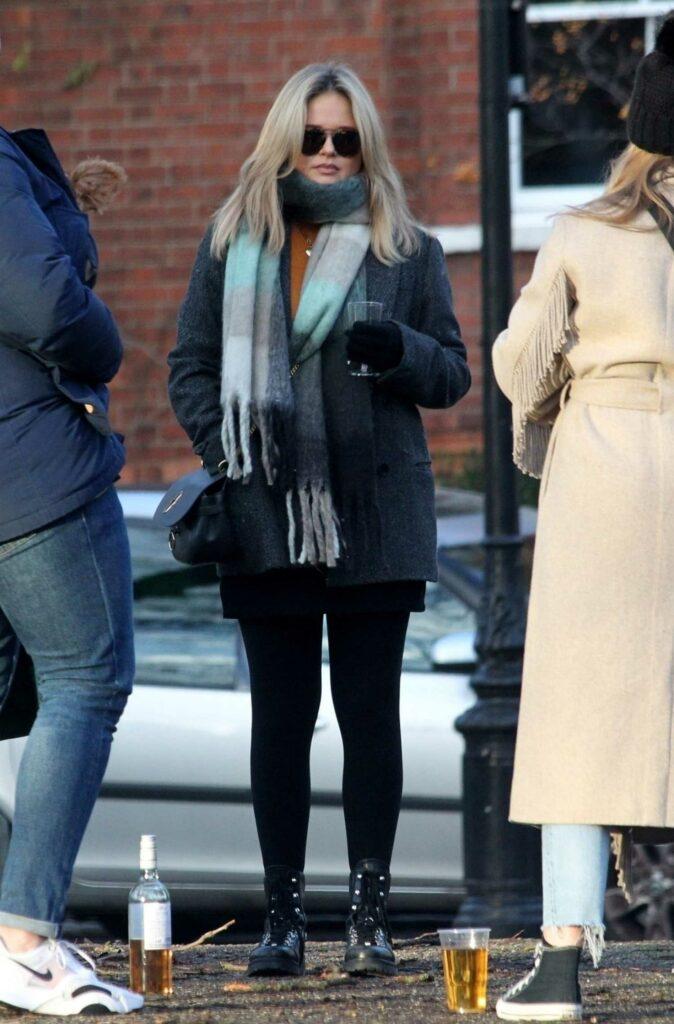 Emily Atack in a Grey Coat