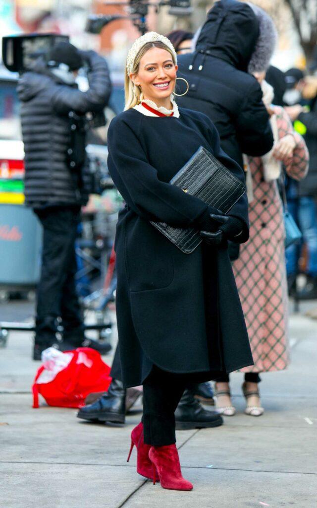 Hilary Duff in a Black Coat