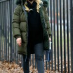 Hilary Duff in a Green Puffer Jacket on the Set of Younger in Brooklyn, NYC
