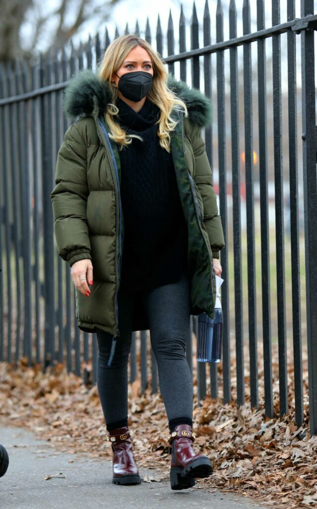 Hilary Duff in a Green Puffer Jacket