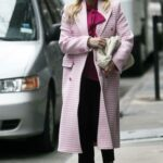 Hilary Duff in a Pink Coat on the Set of Younger in New York