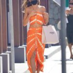 Izabel Goulart in an Orange Ensemble Was Seen Before Getting Onto a Boat in St Barths