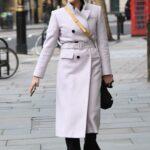 Jenni Falconer in a Purple Coat Leaves the Global Studios in London