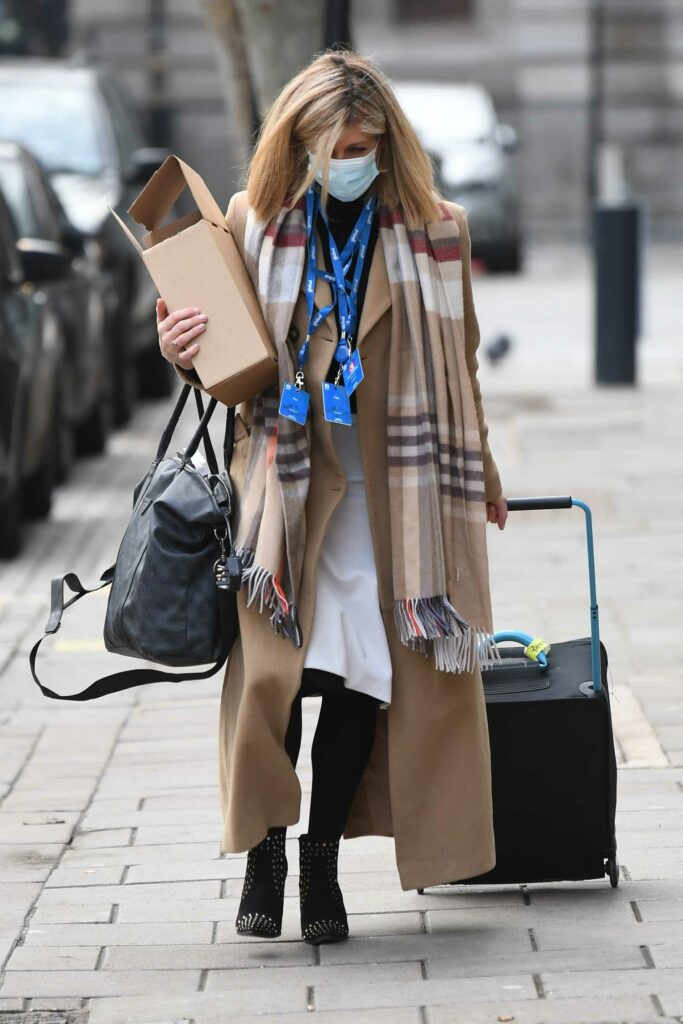 Kate Garraway in a Beige Coat