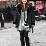 Kelly Brook in Grey Mini Dress Arrives at the Heart Radio in London