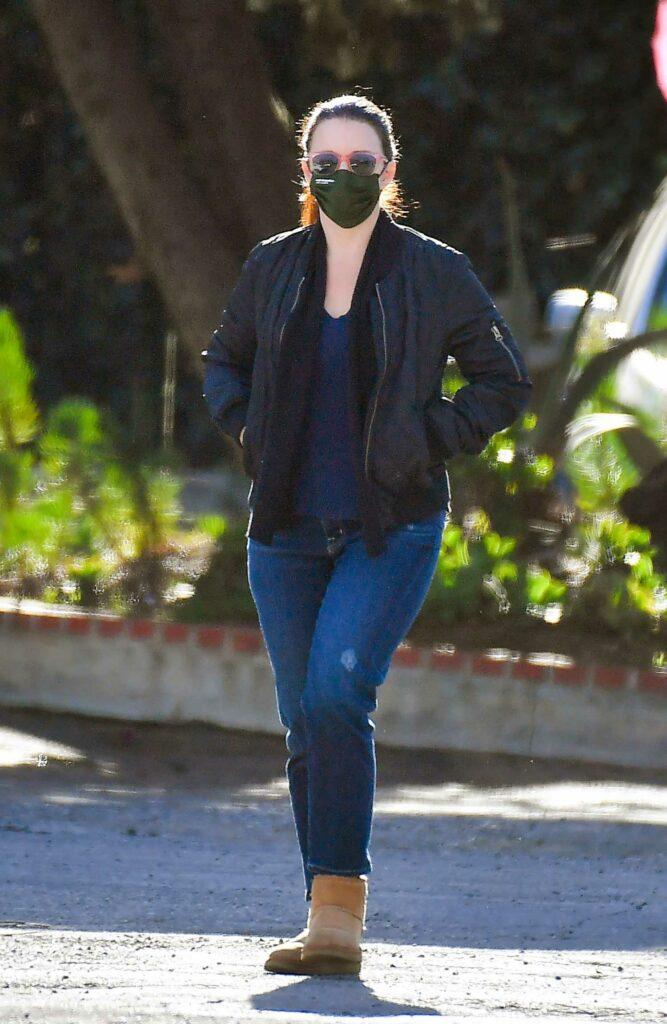 Kristin Davis in a Black Bomber Jacket