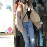 Lily Collins in a Black Protective Mask Shops for Jewelry in Beverly Hills