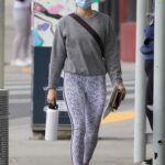 Lucy Hale in a Grey Sweatshirt Heads to the Gym in Los Angeles