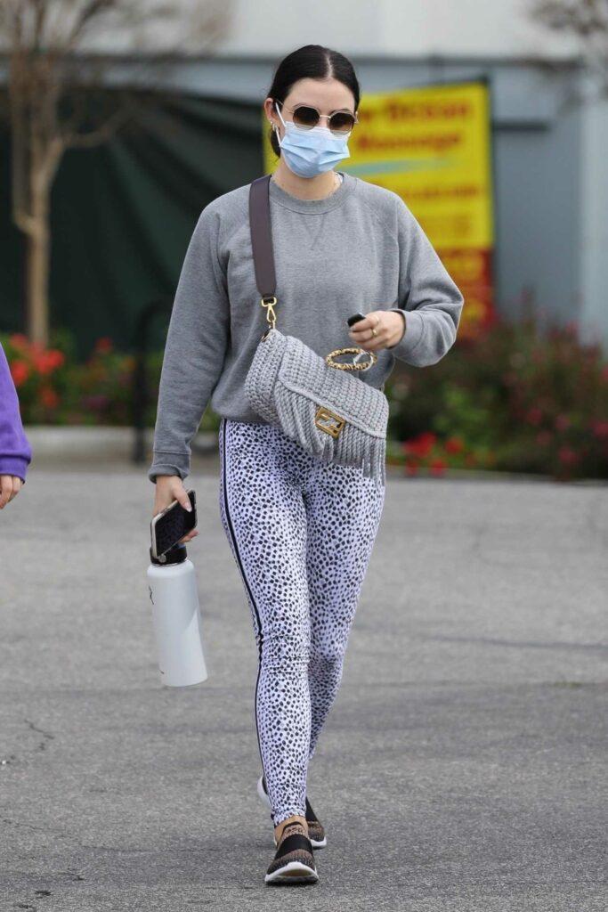 Lucy Hale in a Grey Sweatshirt