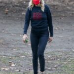 Malin Akerman in a Red Protective Mask Plays with Her Dogs at the Park in Los Feliz