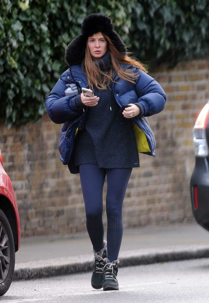 Millie Mackintosh in a Blue Puffer Jacket