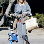 Molly Sims in a Grey Sweatpants Takes Her Kids to a Softball Class in Pacific Palisades