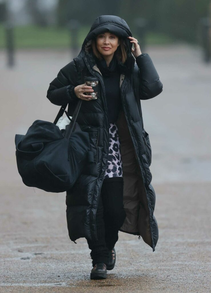 Myleene Klass in a Black Puffer Coat