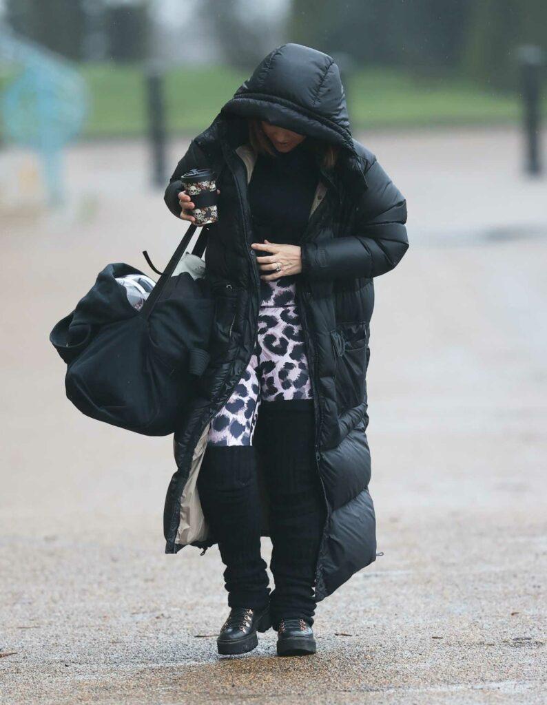 Myleene Klass in a Black Puffer Coat