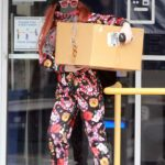 Phoebe Price in a Floral Print Sweatsuit Stops by the Post Office in Los Angeles