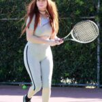 Phoebe Price in a Grey Workout Clothes Hits the Tennis Courts in Los Angeles