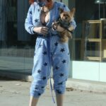 Phoebe Price in a Stars Print Blue Jumpsuit Was Seen Out in Los Angeles