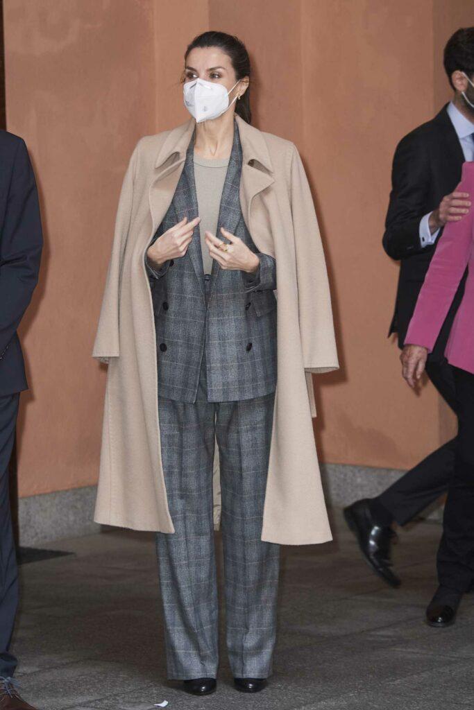 Queen Letizia of Spain in a Beige Coat